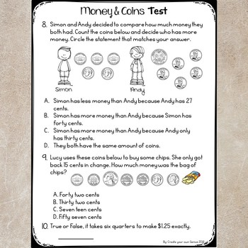 Money and Coins Assessment