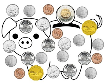 Money boardgame- Canadian coins
