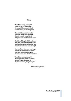 """Money"" by William Henry Davies -  poem and worksheet"