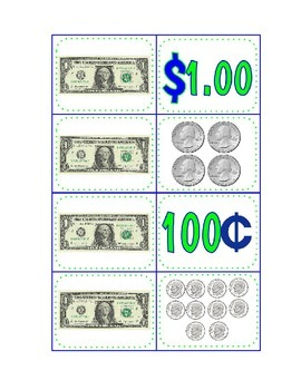 Money; coins and dollar center activity; directions for 2 games