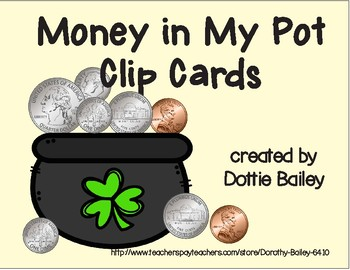 Money in My Pot Clip Cards - Counting Coins