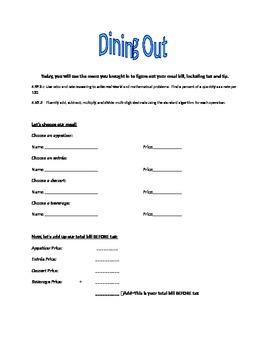 Money management: Dining out Project