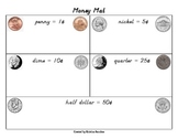 Money mat (color pics of penny, nickel, dime, quarter, & half dollar)