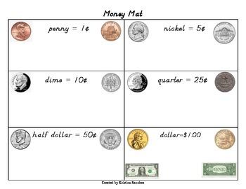 Money mat (color pics of penny, nickel, dime, quarter, half dollar, & dollar)