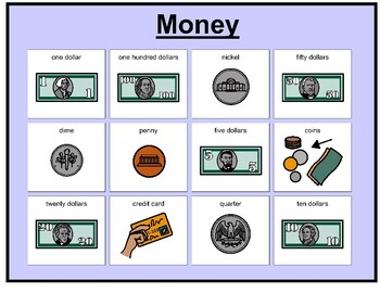 Money  matching board game with sign language board