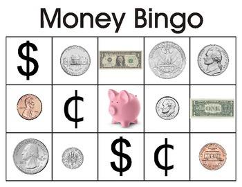 Money recognition bingo for Kindergarten/Preschool