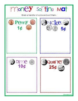 money sorting mat by sheree peterson teachers pay teachers. Black Bedroom Furniture Sets. Home Design Ideas