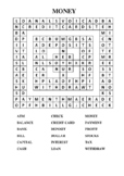 Money themed Word Search Puzzle Worksheet