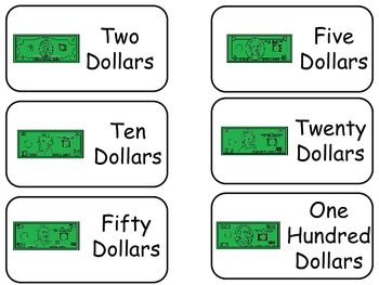 Money themed printable Picture Word Flash Cards. Preschool flashcards.
