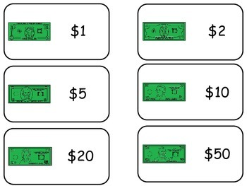 Money themed printable Picture Word Flash Cards. Preschool