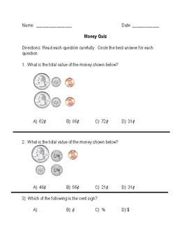Money to 99 Cents Quiz/Assessment