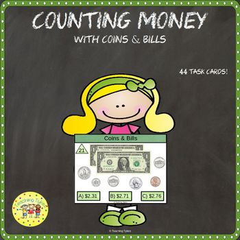 Money Coins and Bills Clip Task Cards