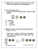 Money word problems (counting coins up to a dollar)