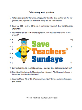 Money word problems (British) lesson plans, worksheets and more
