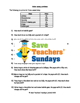 Money word problems on items (British) (3 levels of difficulty)