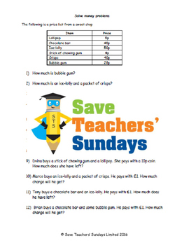 Money word problems on items (British) lesson plans, worksheets and more