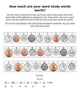 Money/Spelling homework