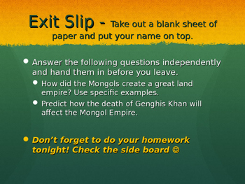 Mongol Conquests PowerPoint - Goes with Mongol Conquests Worksheet