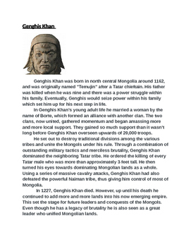 Mongol Empire Activity (With Higher Order Thinking Questions)