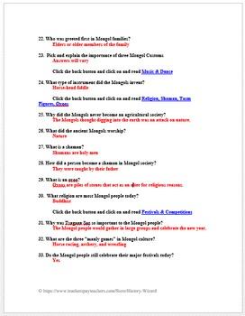 Mongol Empire Daily Life Webquest