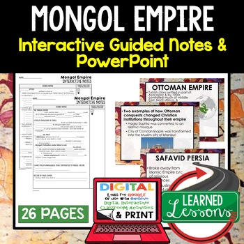 Mongol Empire Guided Notes and PowerPoints, Interactive Notebooks, Google