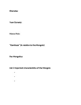 Mongol Empire Homework Definitions