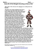 Mongol Empire Primary Source: Daily Life of the Mongols According to Marco Polo