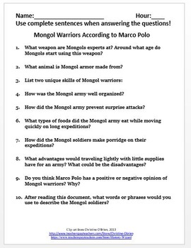 Mongol Empire Primary Source Worksheet: Mongol Warriors