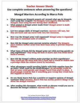 mongol empire primary source worksheet mongol warriors by. Black Bedroom Furniture Sets. Home Design Ideas