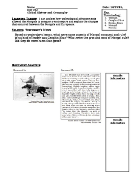 Day 035_Mongol Empire under Genghis Khan DBQ Response - Lesson Handout