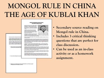 Mongol Rule in China reading - Global/World History
