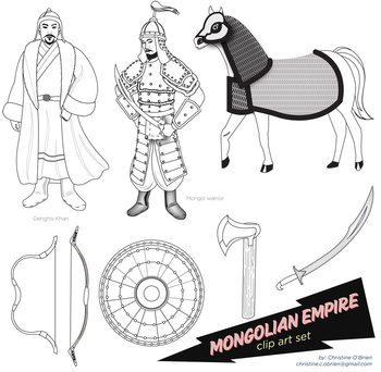 Mongolian Empire Clip Art Set
