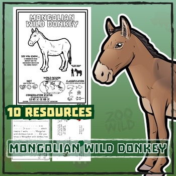 Mongolian Wild Donkey -- 10 Resources -- Coloring Pages, Reading & Activities