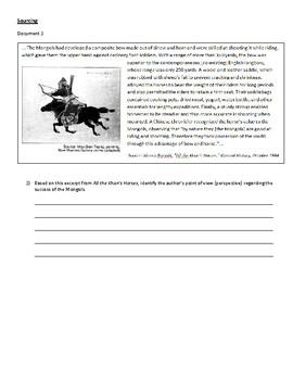 Mongols CRQ - NEW NYS REGENTS FORMAT - Constructed Response Questions