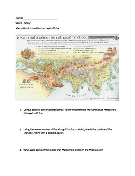 Mongols/Silk Road Lesson Activity - Map of Marco Polo's Tr