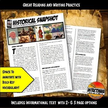 Mongols or Yuan Dynasty Historical Snapshot Close Reading Investigation and Quiz