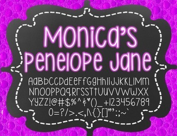 Monica's Penelope Jane {Font for Personal and Commercial Use}