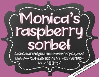 Monica's Raspberry Sorbet {Font for Personal and Commercial Use}