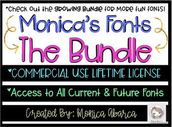 Monica's Sweet Lemonade {Font for Personal and Commercial Use}