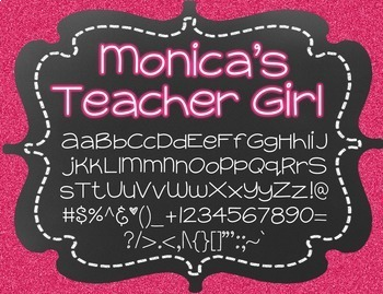 Monica's Teacher Girl {Font for Personal and Commercial Use}