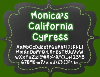 Monica's California Cypress {Font for Personal and Commerc