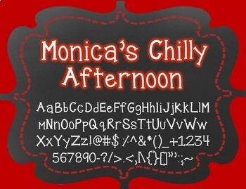 Monica's Chilly Afternoon {Font for Personal and Commercial Use}