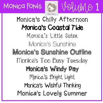 Monica's Fonts - Set #1 {10 Fonts for Personal and Commercial Use}