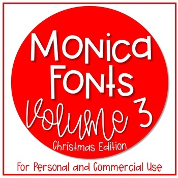 Monica's Fonts - Set #3 {7 Christmas Fonts for Personal & Commercial Use}