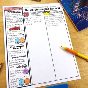 Monitor Comprehension Fix-Up Strategy Poster, Bookmark & Graphic Organizer