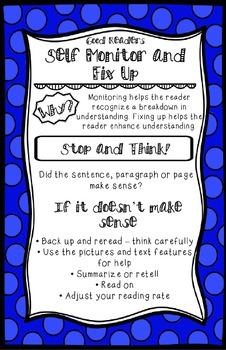 Monitor and Fix Up Reading Strategy Anchor Chart