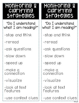 Monitoring & Clarifying Strategies Bookmark Freebie