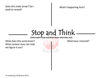 Monitoring Comprehension with a Stop and Think Graphic Organizer