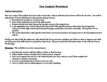 monitoring student progress test analysis worksheets tpt. Black Bedroom Furniture Sets. Home Design Ideas