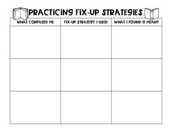 Monitoring and Clarifying Bookmark, Dice and Graphic Organizer
